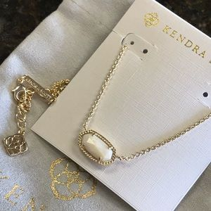 New Kendra Scott Elisa Oval Ivory gold necklace